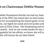 """Obama on DWS stepping down from DNC: For eight years she """"has had my back."""" https://t.co/rca4YBbhea"""