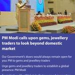 PM Modi calls upon gems, jewellery traders to look beyond domestic market https://t.co/SwJf7C4Y98 via NMApp https://t.co/w7oFm9JmVu