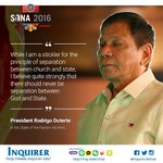 #PresidentDuterte on the role of religion in government. #SONADu30 More at: https://t.co/5jqLWQbzhQ https://t.co/dZy3S6Q8A9