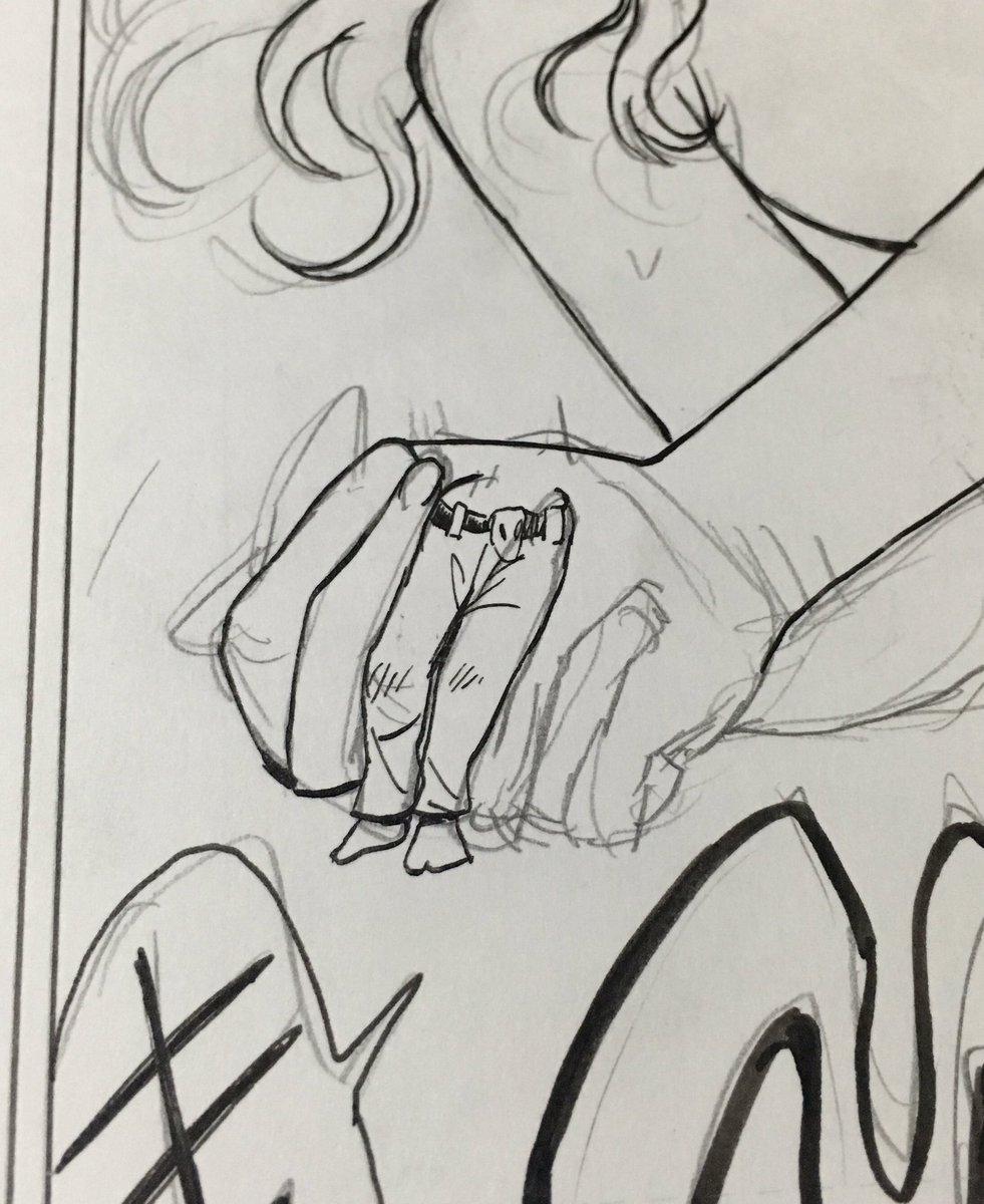 睡魔に抗いながら描いてた原稿。酷い。我ながらこれは酷い。「手」ですよ、これ。「手」を描いたんですよ。…