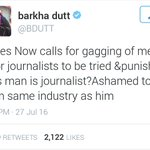 Dear @Bdutt It is not gagging of media but punishing unrestrained vomit that u dished out on R-NDTV & now on ur own. https://t.co/9sWKfyqQk9