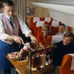 A steward slices meat for passengers on SAS Scandinavian Airlines, 1969. https://t.co/IAGNv6MT2X