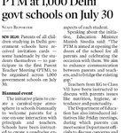 For the First Time PTM at 1,000 Delhi govt schools on July 30 https://t.co/mNLtZ2gNaR