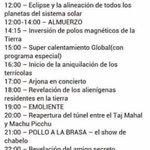 Acá el itinerario del #FinDelMundo para que no te agarre desprevenido. https://t.co/d8Ml5pvxX1