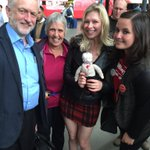 We met @JeremyCorbyn4PM @jeremycorbyn at Leeds train station and introduced him to knitted Corbyn. #KeepCorbyn https://t.co/Gg8oLbWVjm