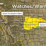 #yyc downgraded to Severe TStorm WATCH. Severe TStorm WARNINGS remain to the east of us. #ABStorm https://t.co/rghKKkjmzI