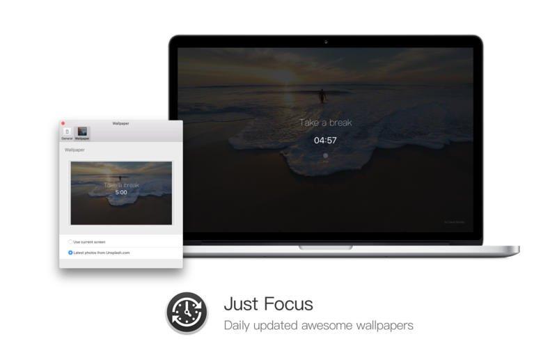 Just Focus for Mac v1.1 发布了!可以使用来自 Unsplash 的高质量大图作为休息界面背景了!请大家通过 Mac App Store 下载或自动更新 XD https://t.co/ZYzKSiPFlk https://t.co/3IsOftDtE2