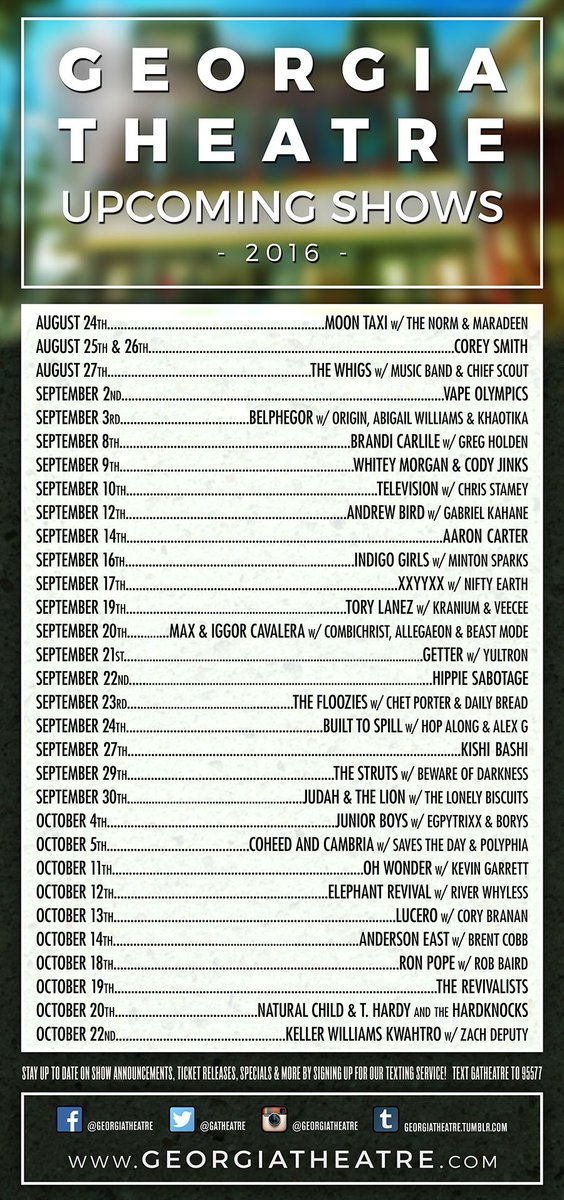TICKET GIVEAWAY CONTEST! RT to enter to win a ticket to EVERY show listed here! Winner will be announced 8/23 @ 6pm! https://t.co/NPD1MKEKGc