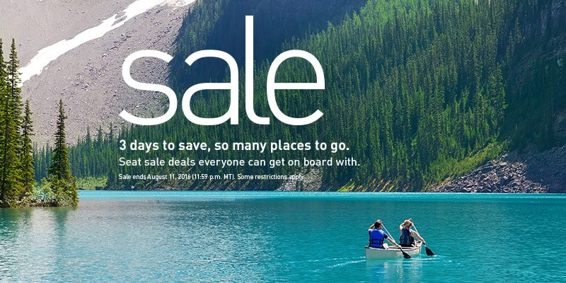 3 day sale! Book by 8/11/16 (2359 MT). Travel until 12/14/16. Restrictions apply.