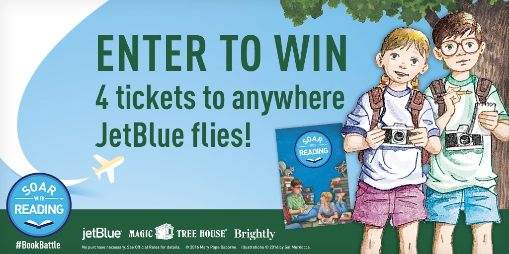 Win 4 tickets to any JetBlue destination and a Magic Tree House library! Enter now!