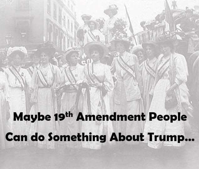 Maybe 19th amendment people can do something about Trump https://t.co/LKguLIfwQe
