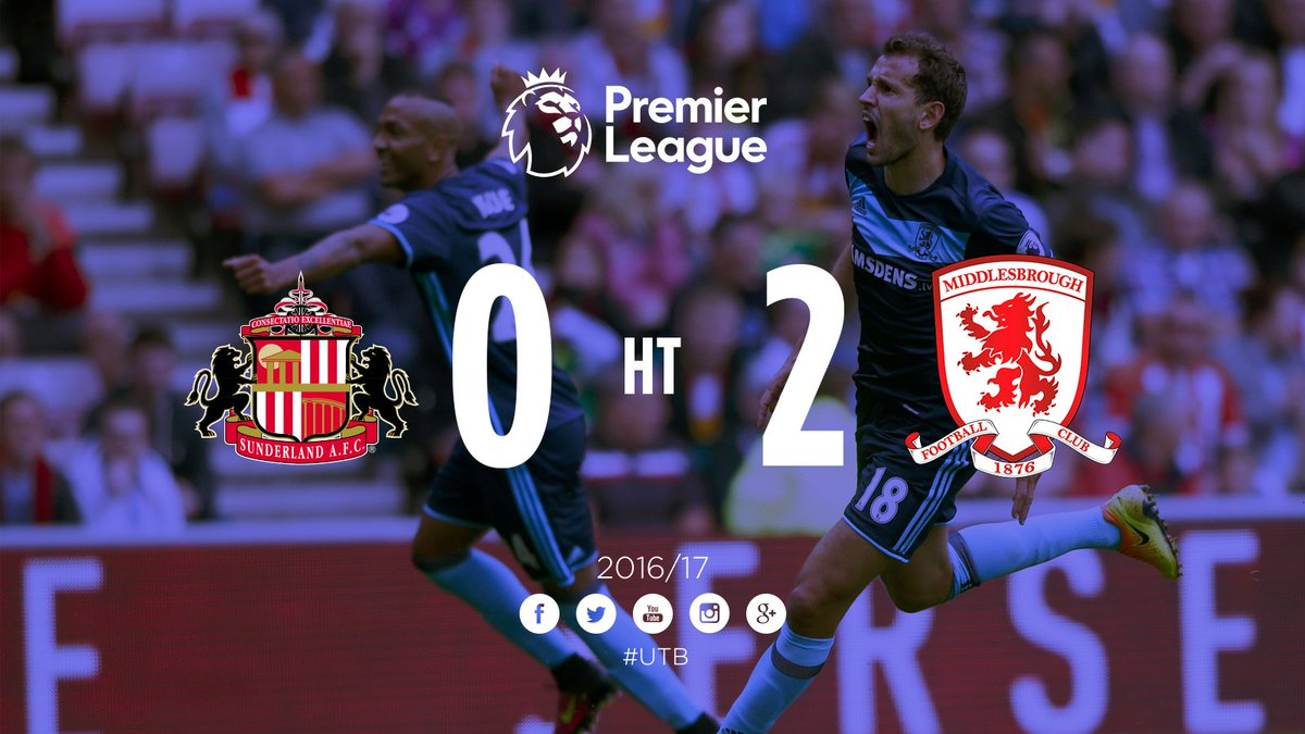 RT @Boro: HALF-TIME | #Boro lead @SunderlandAFC 2-0 at the Stadium of Light after two goals from @CristhianStuani! https://t.co/TU3iJcDpvQ