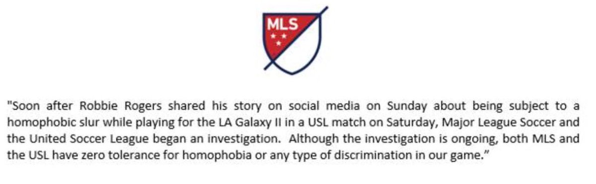 Statement from Major League Soccer https://t.co/trdJaX1Upc