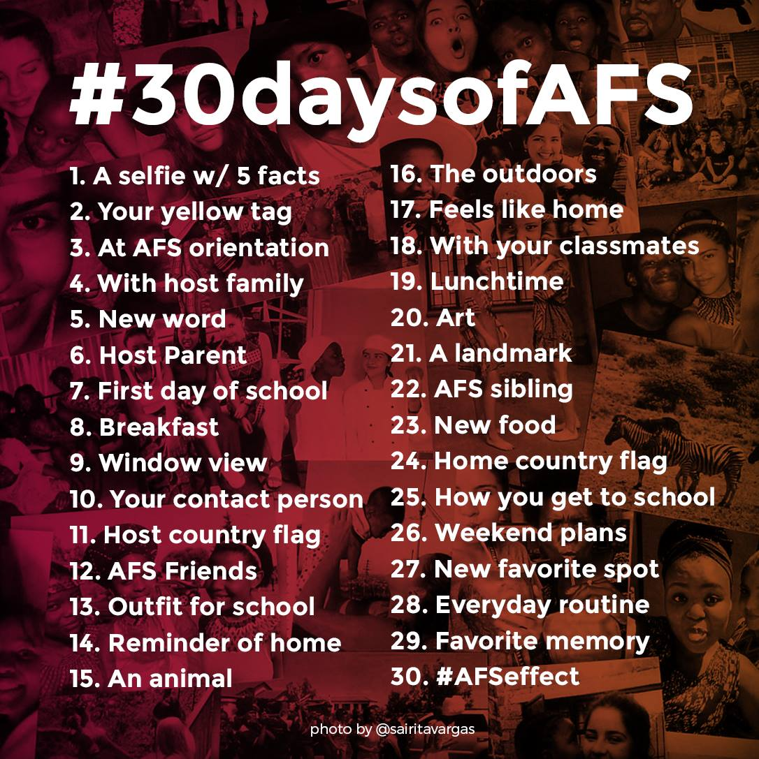 Start your experience with a #30daysofAFS photo challenge! #AFSeffect #YellowTagSeason #studyabroad #exchangestudent https://t.co/EbpaIyjF8N