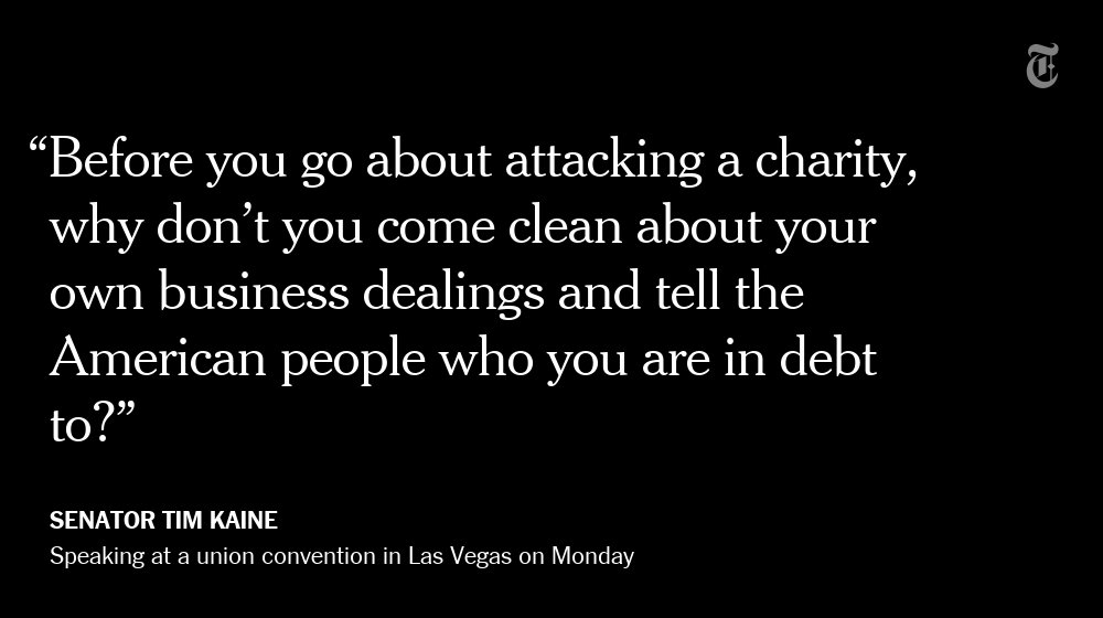 Tim Kaine, defending the Clinton Foundation, responds to Donald Trump https://t.co/wFAF7Re2lt