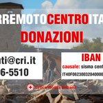 Attivato il servizio donazioni della #CroceRossa Italiana per il #terremoto di Amatrice, Rieti. https://t.co/hZNr9lbsK1