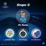 Liga dos Campeões - Grupo G: Leicester City (ENG), @FCPorto, Club Brugge (BEL), FC Kobenhavn (DEN) https://t.co/xIy79XF4ym