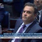 """A reação de Aécio ao ser citado por Dilma como """"candidato derrotado que jamais aceitou o resultado das urnas em 2014 https://t.co/1uK93OAm7l"""