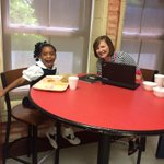 Asia had a working lunch today she was pretty excited about... #AustinInnovators @MaryBAustin https://t.co/f1jtpz9R6T