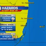 Todays hazards include a slight risk of flooding, brief gusty winds, and frequent lightning strikes. @wsvn https://t.co/1MXhDoraWR