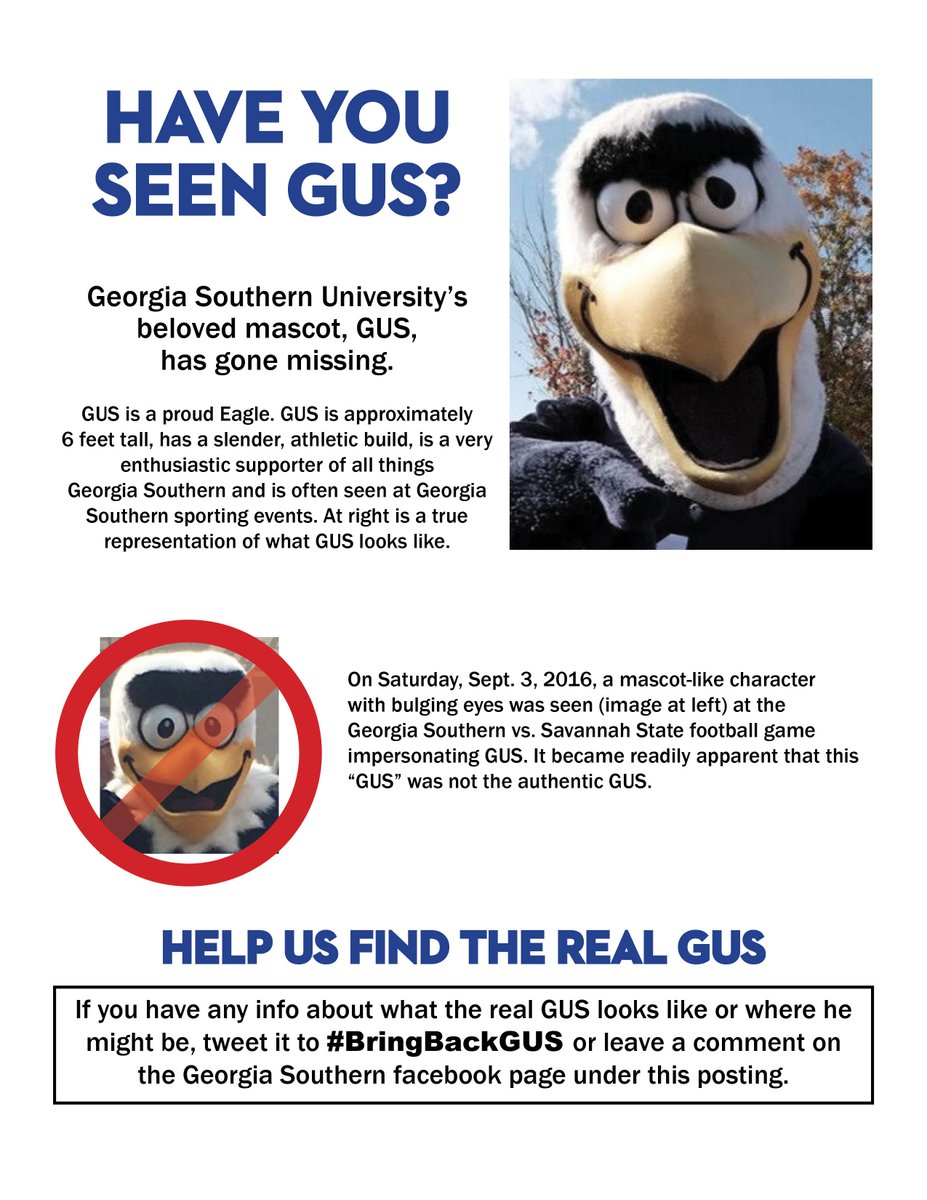 #GeorgiaSouthern is looking for GUS. Share any info. on his whereabouts and more on his description.  #BringBackGUS https://t.co/bGQ9lRjAD9
