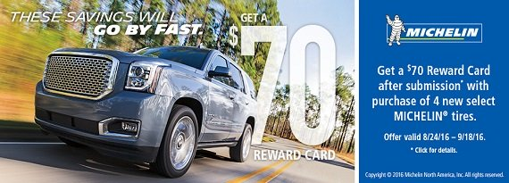 Get a $70 rebate with 4 new select #Michelin tires until 9/18/16 at 106St Tire & Wheel! https://t.co/BCRB1dkZee https://t.co/yvRwsOKmnd