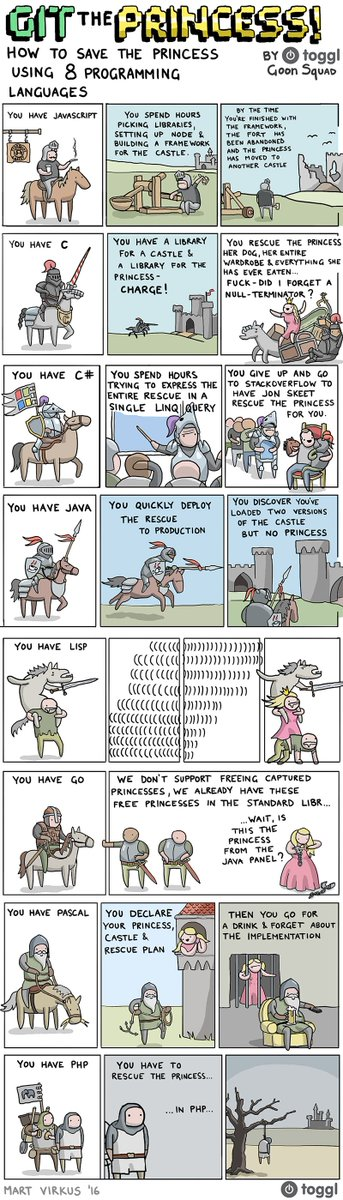 Like LISP one best! RT @angealbertini: How to save the princess in 8 programming languages https://t.co/kr0rMi4tIv https://t.co/rjBGlkKpZa