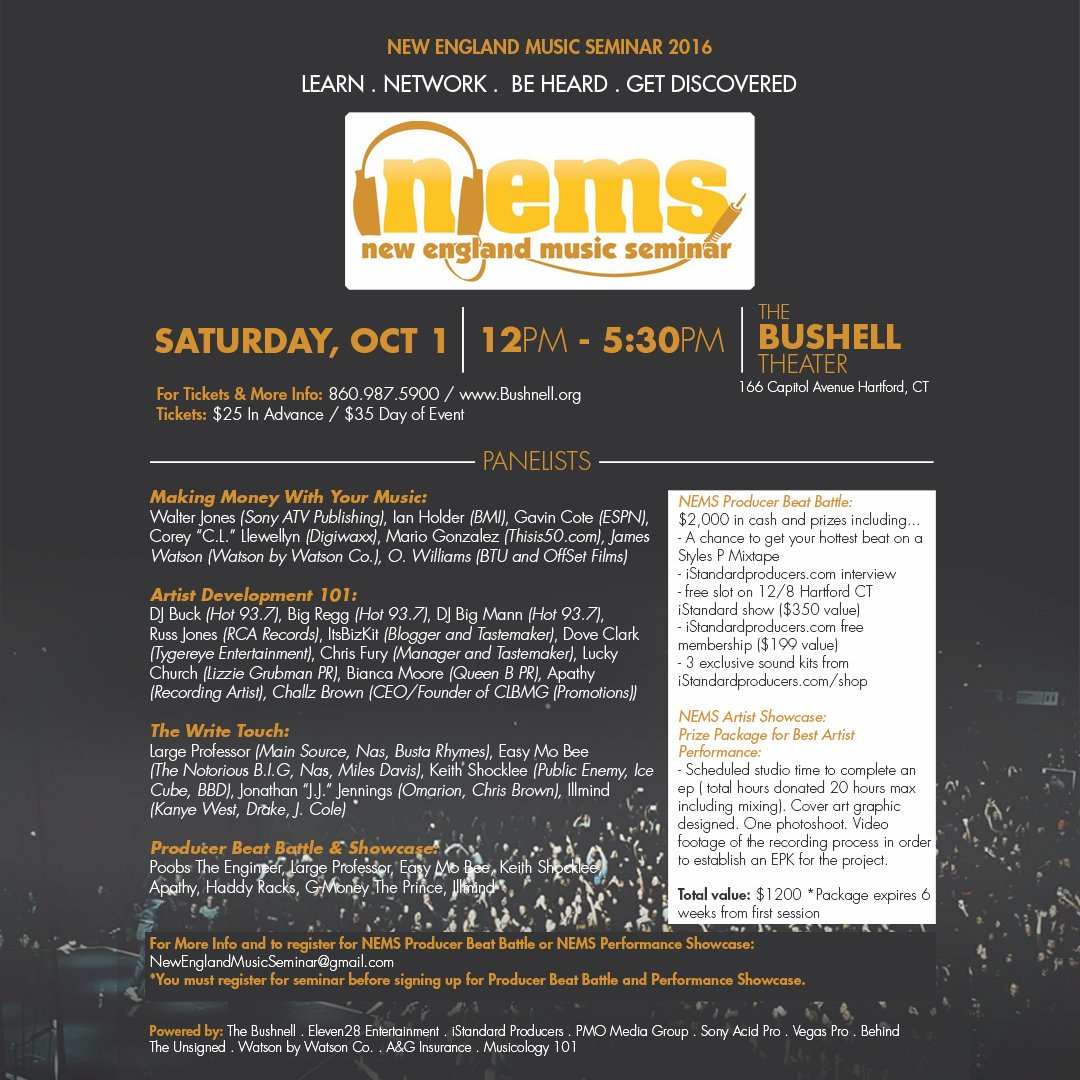 NEMS 2016: Learn . Network . Be Heard . Get Discovered https://t.co/Ibv2pCGw6H w/ @illmindPRODUCER @largeprofessor https://t.co/BhCWKL4xME