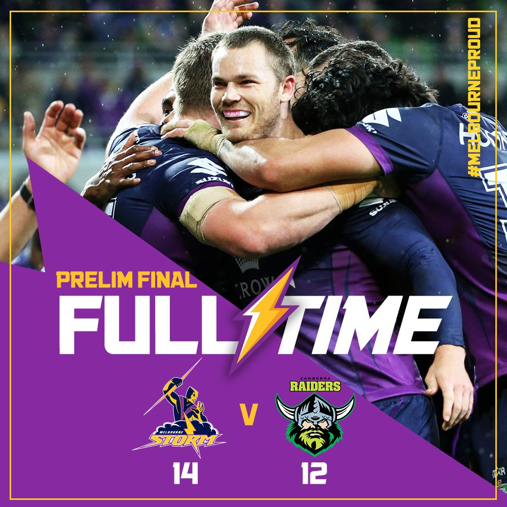 FULL TIME: Smiling all the way to Sydney!!!! Our boys have done it! We've off to the #NRLGF!!! #MelbourneProud https://t.co/Q5UDfGrhQP