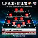 🚩Alineación de Estudiantes de Mérida FC para enfrentar al Aragua FC #VamosAcadémico #Vamospormás https://t.co/dUy0c652fO