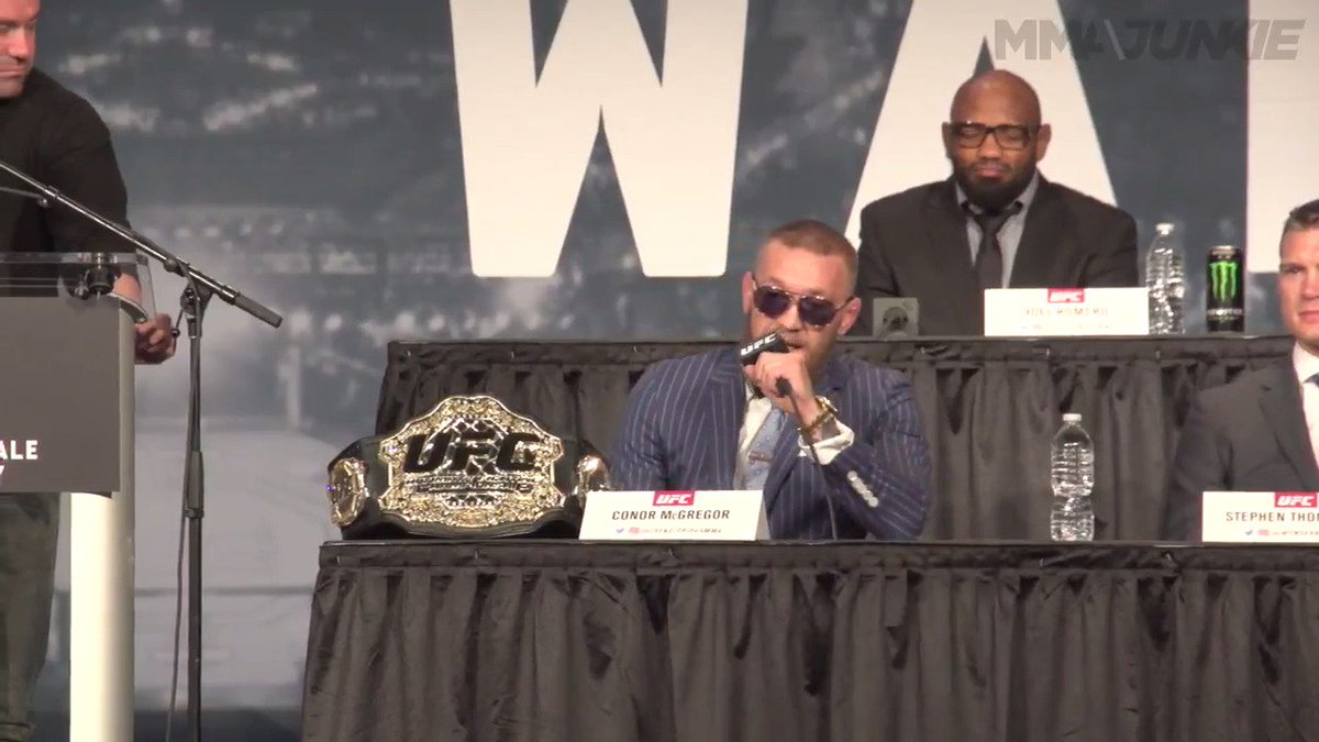 Love him or hate him, there's just nothing quite like a Conor McGregor (@TheNotoriousMMA) press conference. #UFC205 https://t.co/TJVUyxDGEe