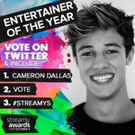 "RT this & Tweet "" I vote @camerondallas for Entertainer of The Year #Streamys"" for a follow 😊 https://t.co/rdXBk1mBLJ"