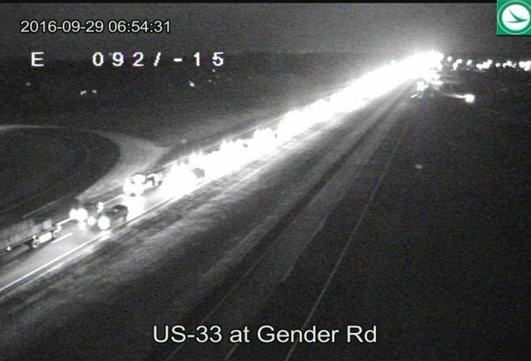TRAFFIC ALERT: Traffic already heavy on 33 WB at Gender Rd. Allow for extra