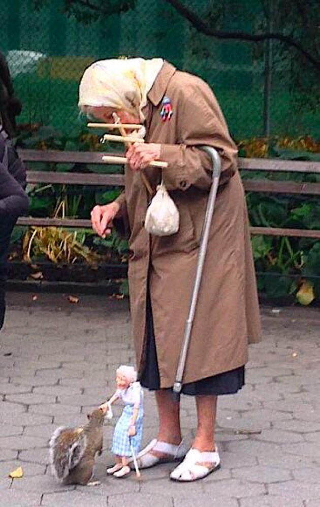 #OlderPeoplesDay   This lady feeding a squirrel using a marionette of herself is still my favourite older person. https://t.co/cQ3Spjk9Do
