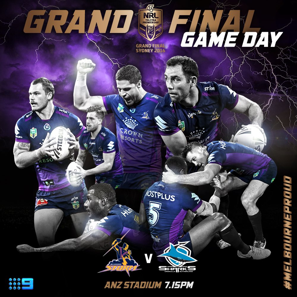 It's a Grand Final GAME DAY! Time to do #MelbourneProud ⚡️⚡️ #NRLGF https://t.co/l3MK9EK5mp