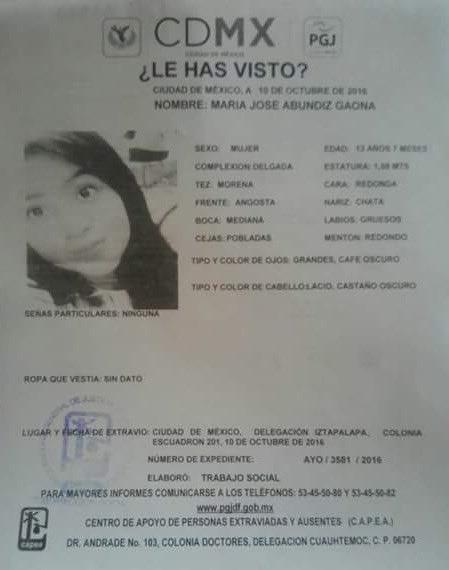 Por favor su valiosa ayuda para localizar a María José Abundiz García de 13 años, está desaparecida https://t.co/VpBYyWno23