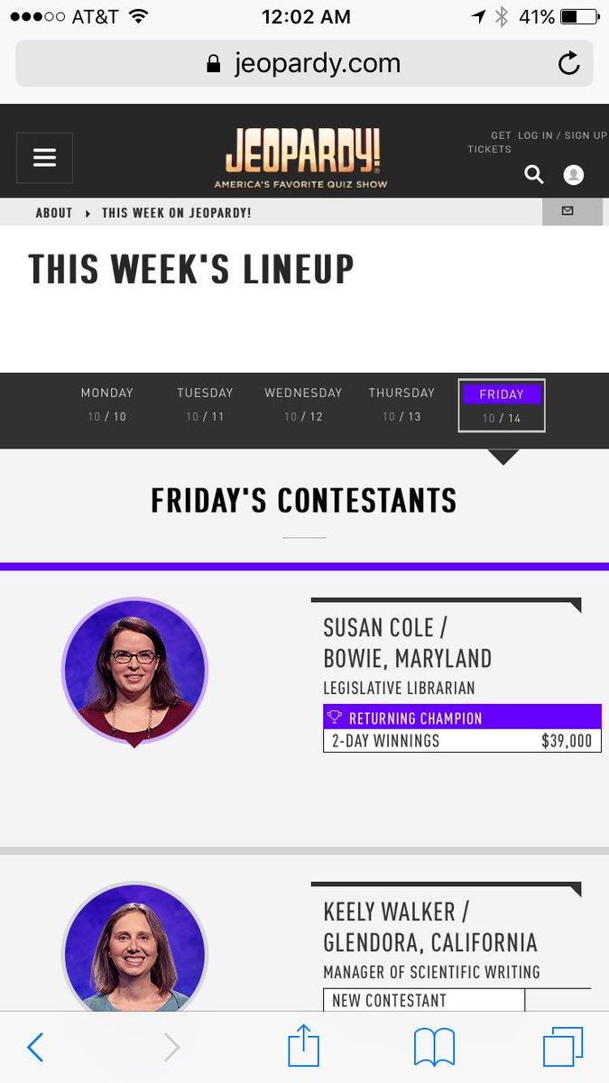 Props to Susan, the nerdcore rap fan on @Jeopardy, for winning two days in a row. #suckittrebek https://t.co/n7La1KRvvq