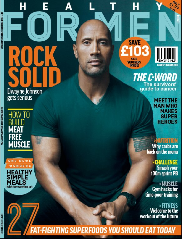 The new issue of @HealthyForMen featuring Dwayne 'The Rock' Johnson is on sale in stores now! https://t.co/qQ5SGCR5Ip
