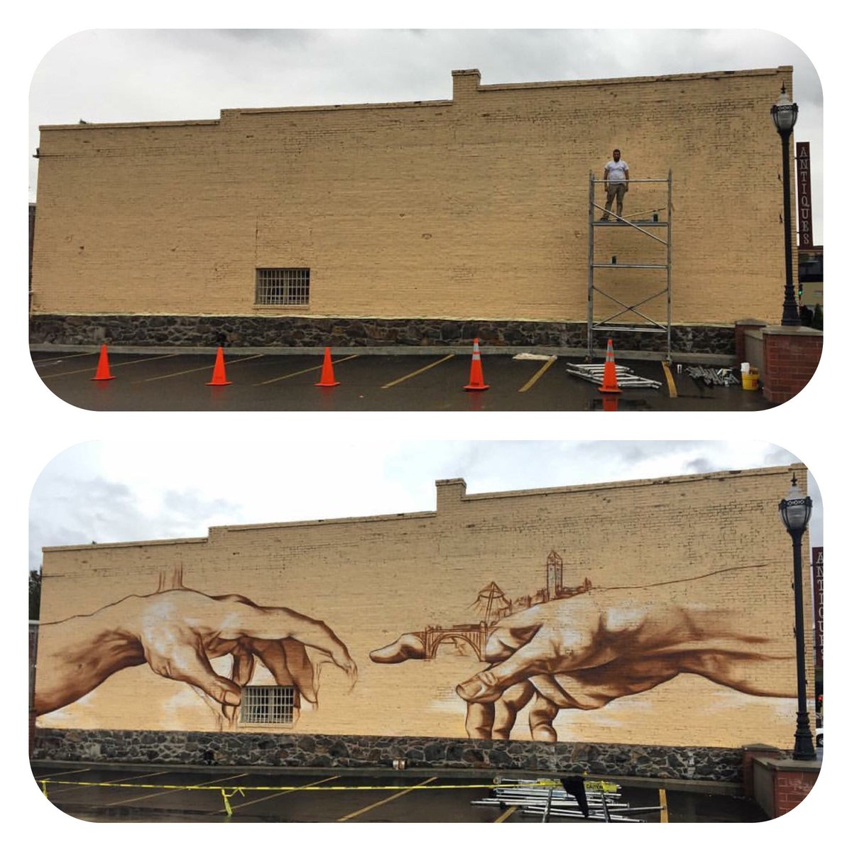 Day 1 and Day 4. #Spokane #artist Daniel Lopez and his #mural at Division and Sprague.