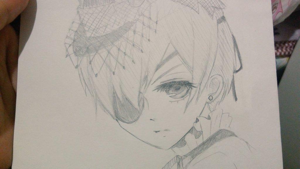 ポンッと模写した絵を置く。黒執事 シエル ×2枚暁のヨナ ゼノ