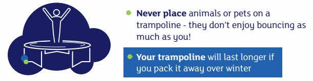 """Safety advice from the John Lewis trampolines webpage: """"You should never put live animals and pets on a trampoline."""" https://t.co/AOkUcIUBMx"""