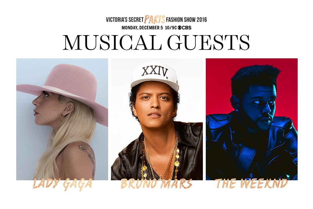 GET EXCITED. @ladygaga, @BrunoMars, @theweeknd will perform at the 2016 #VSFashionShow! https://t.co/28jebSEWK9