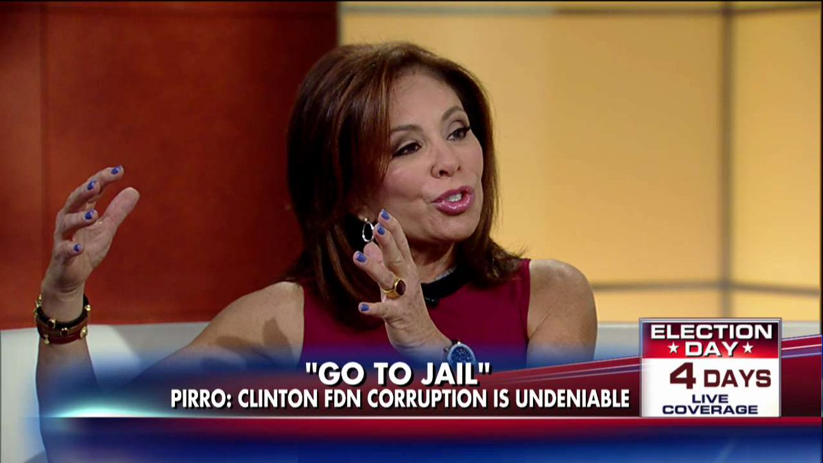 .@JudgeJeanine: Clintons Operated 'Organized Criminal Enterprise' in Name of a Charity @foxandfriends https://t.co/qTHb5hWCM4