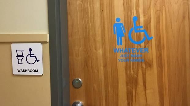 Gender-neutral bathroom sign at B.C. high school draws smiles From @GlobeBC