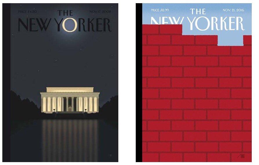 Les couvertures du NYker par @bobstaake pour les victoires d'Obama en 2008 et Trump en 2016