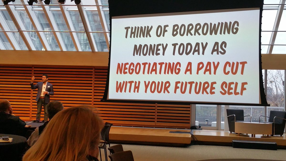 """Think of borrowing money today as negotiating a pay cut with your future self."" @preetbanerjee #cpfc16 https://t.co/ZQC5ZoFb7W"