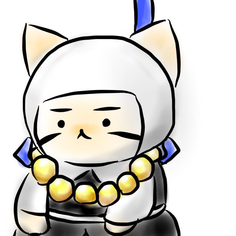 #ねこねこ日本史ごつそうに見えてめっちゃ声がかわいかった武蔵坊弁慶さん。鵯越の坂落としが一番キュートでした。