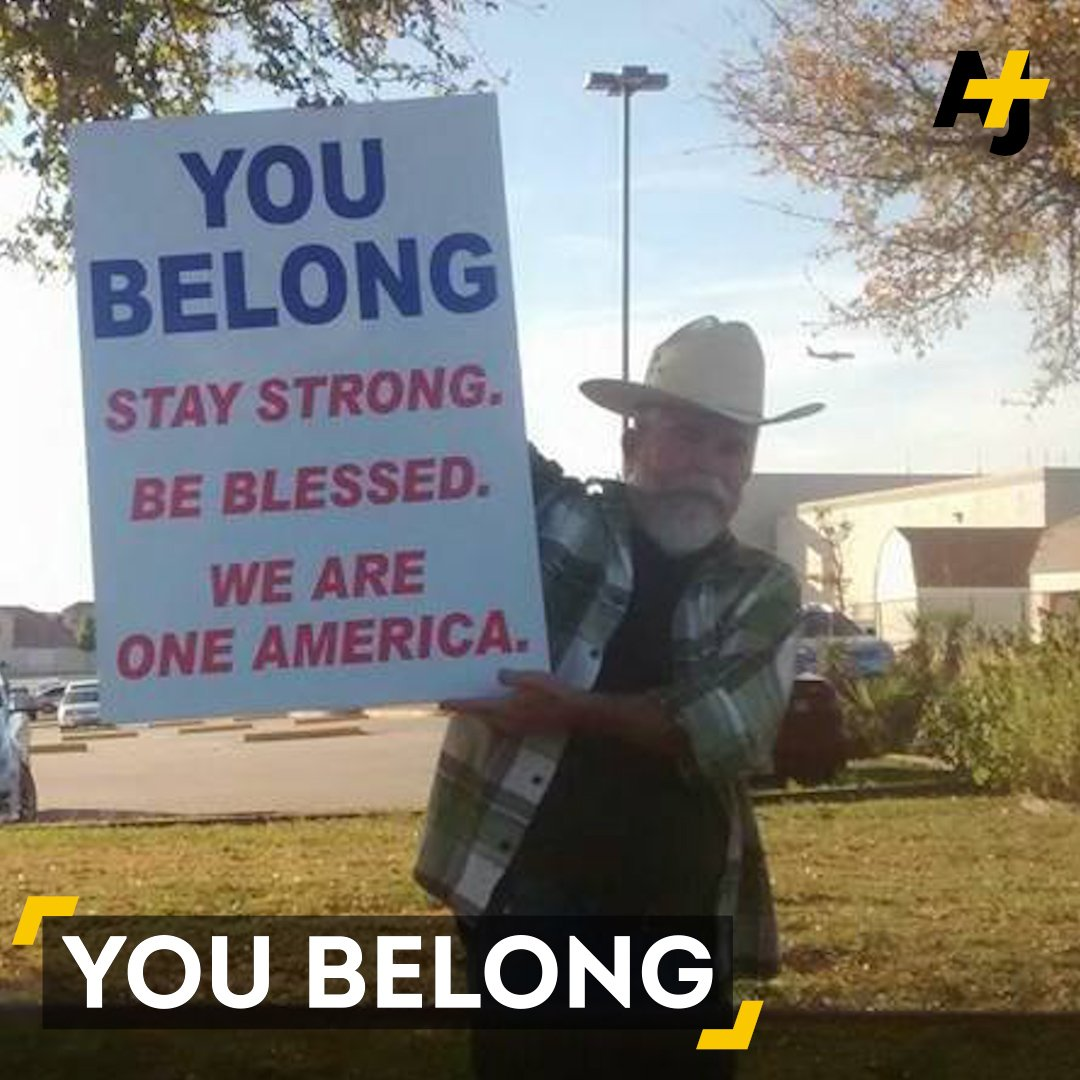 This Texan stood outside of a mosque with a sign, and his message went viral.