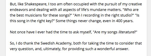 Dylan on the Nobel prize, and the pursuit of his craft; perfect as always  https://t.co/SAr05hhRGX https://t.co/OrlNv1Tw1S