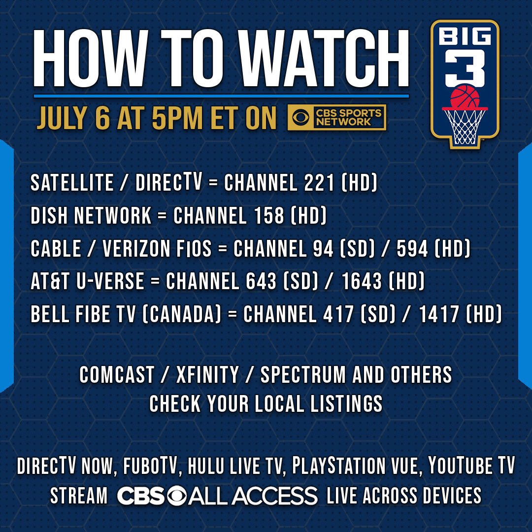 RT @thebig3: ???? Today's games are on @CBSSportsNet https://t.co/MEJUJ5iD5Y https://t.co/81XHhX2gV7